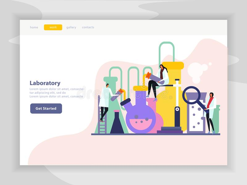 Science Lab Flat Landing Page royalty free illustration