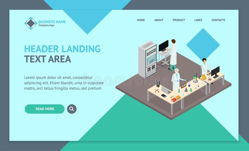 Science Lab Interior Landing Web Page Template Isometric View. Vector vector illustration