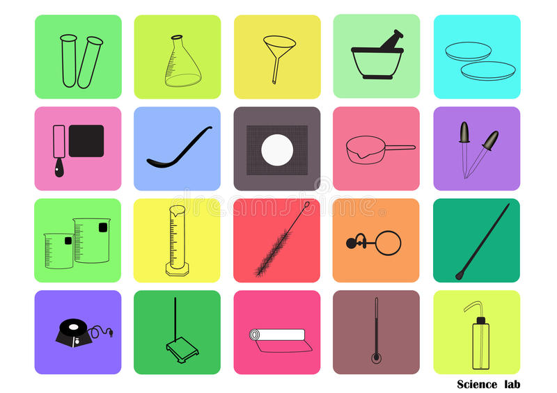 Science lab Vector Icon Set,chemical icons set,Chemical Laboratory, chemical glassware. vector illustration, Flat design. vector illustration
