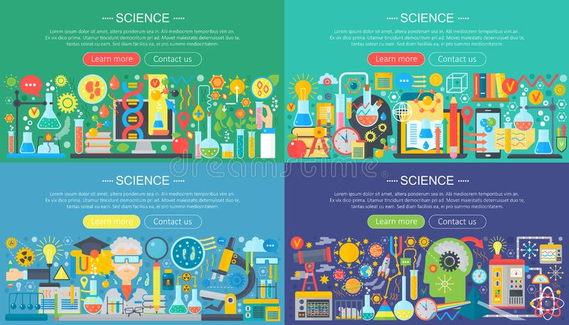 Science, laboratory flat color templates set. Vector chemistry infographic concept background for flyear, magazines vector illustration