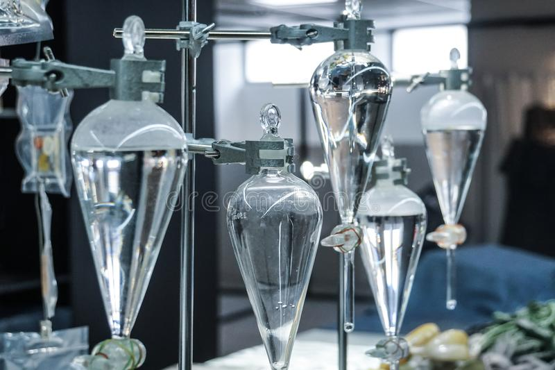 Science laboratory glass distill boil water flask. S royalty free stock photography