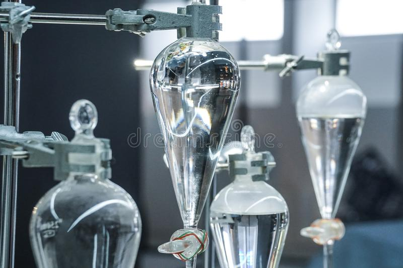 Science laboratory glass distill boil water flask. S royalty free stock photos