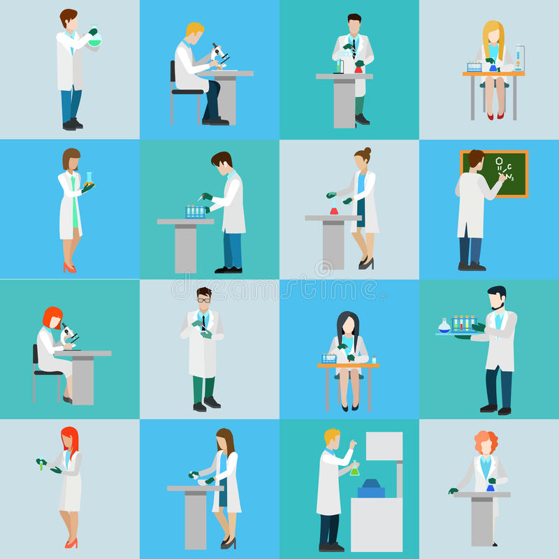 Science laboratory professional people icon set flat vector vector illustration
