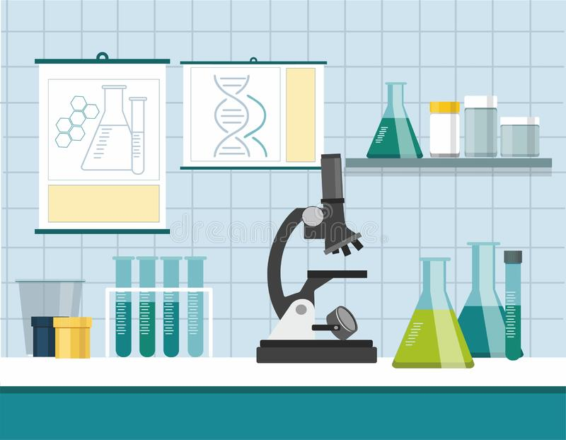 Science laboratory research and development concept. Microscope with test tubes stock illustration