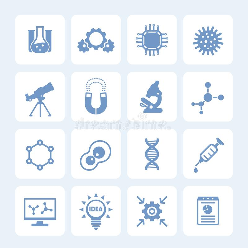 Science, laboratory study and research icons royalty free illustration
