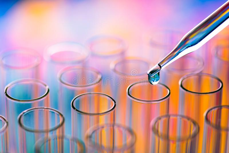 Science laboratory test tubes , lab equipment for research new m. Edical royalty free stock photos