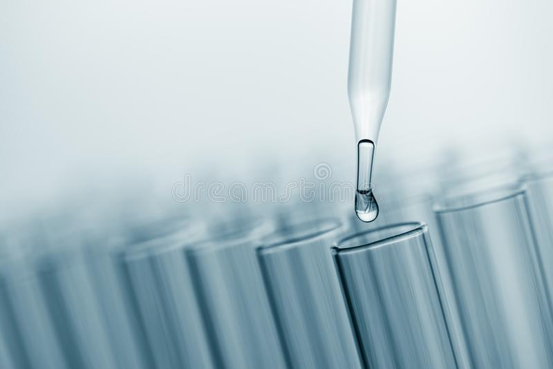 Science laboratory test tubes , lab equipment for research new m royalty free stock photo