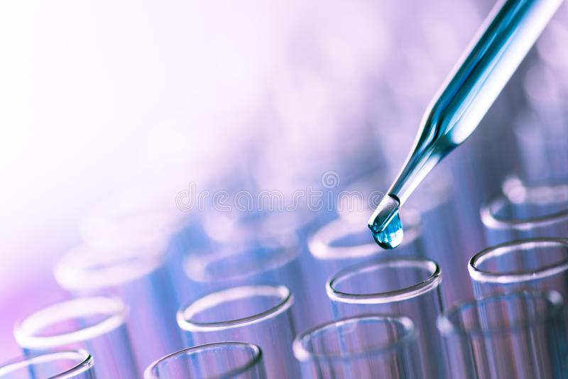 Science laboratory test tubes , lab equipment for research new m royalty free stock photos