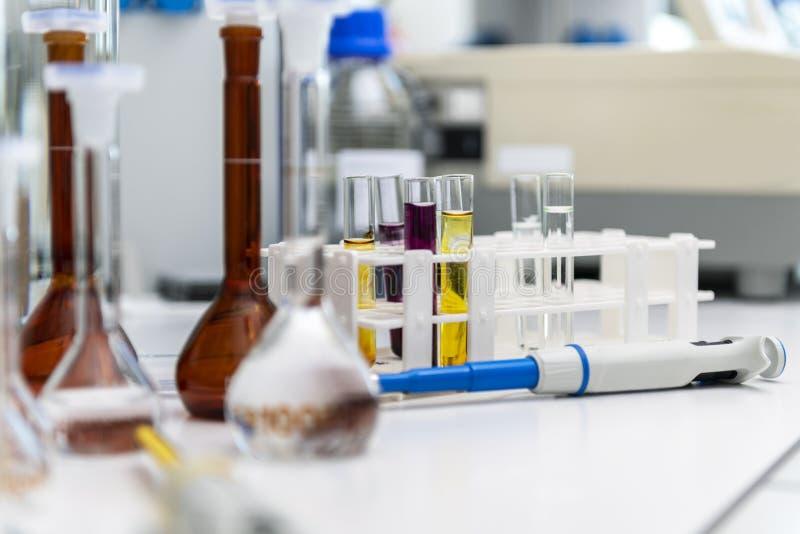Science laboratory test tubes, laboratory equipment stock photos