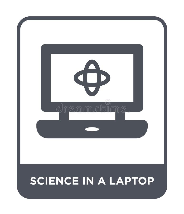 Science in a laptop icon in trendy design style. science in a laptop icon isolated on white background. science in a laptop vector. Icon simple and modern flat royalty free illustration
