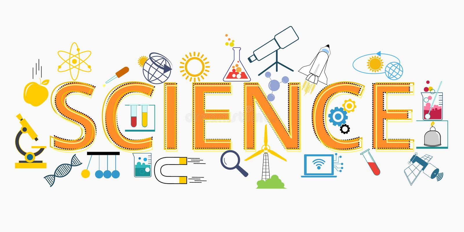 Science Education And Text Science Stock Vector - Illustration of graphic,  flat: 181031138