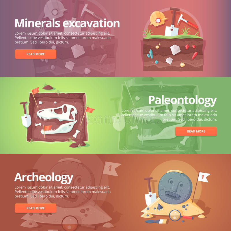Science of life. Minerals excavation. Paleontology. vector illustration