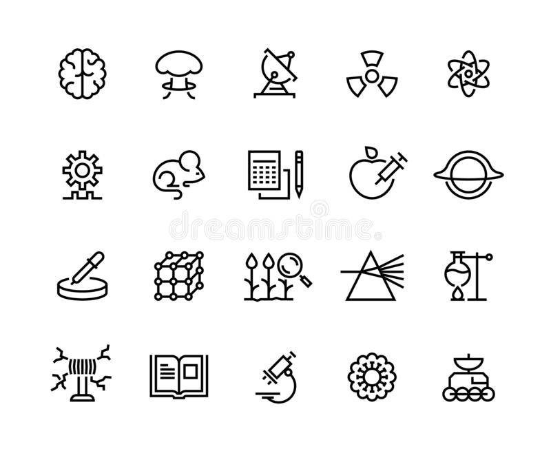 Science line icons. Technology research, medical biology astronomy exploration and equipment. Laboratory instruments. Vector symbols stock illustration