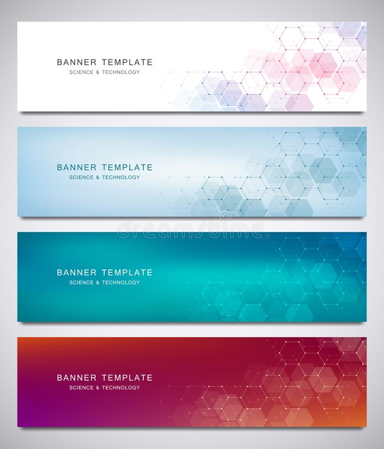Science, medical and digital technology header or banners. Geometric abstract background with hexagons design. Molecular stock illustration