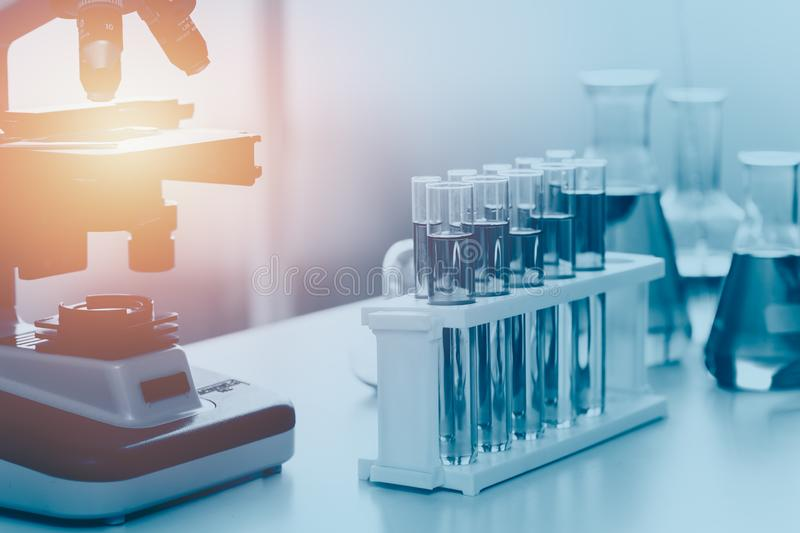 Science medical lab equipments with microscope stock image