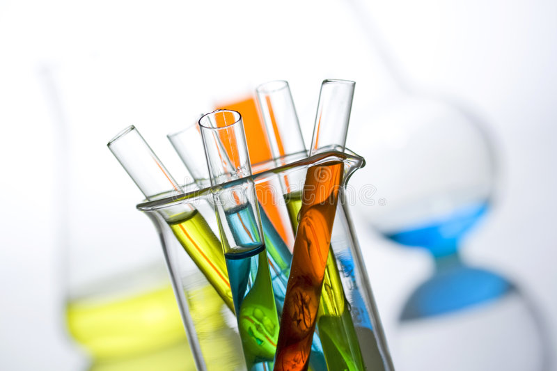Science and medical research test tubes stock images
