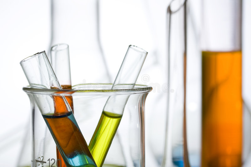 Science and medical research test tubes stock photos