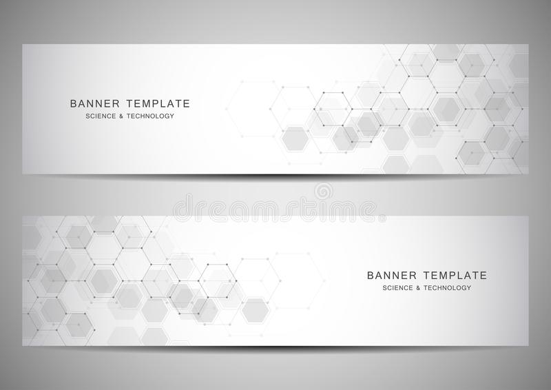 Science, medical and technology banners. Molecular and chemical structure backgrounds. Science, medical and technology banners. Molecular and chemical structure stock illustration