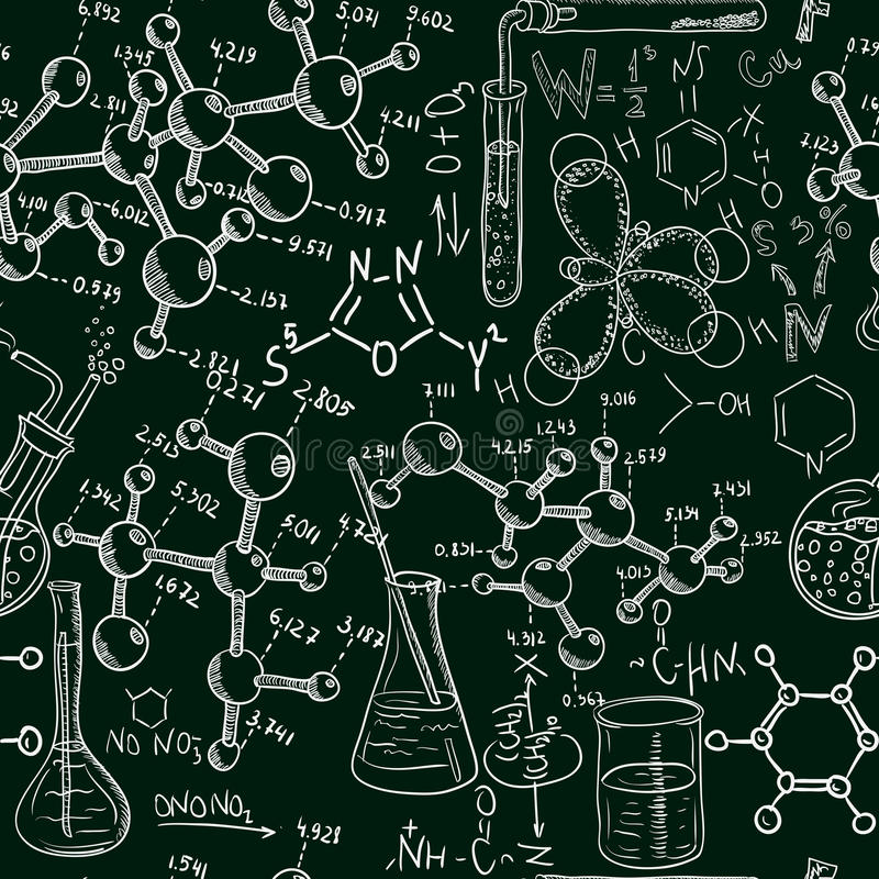 Science Laboratory Background Design: Science Old Chemistry Laboratory Seamless Pattern. Vintage