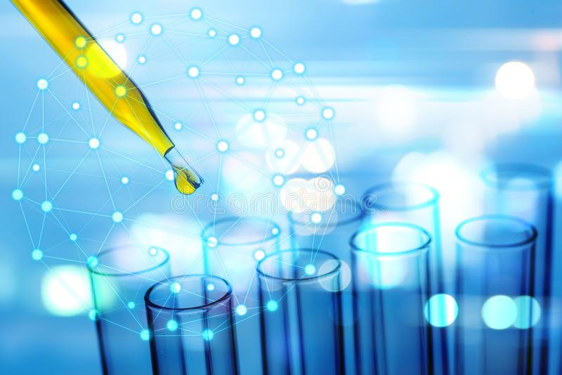 Science pipette with a drop of substance over laboratory test tu royalty free illustration