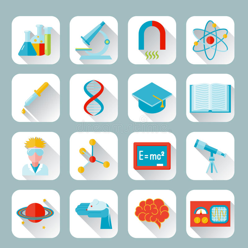Science and research icon flat. Set with flask microscope magnet atom isolated vector illustration royalty free illustration