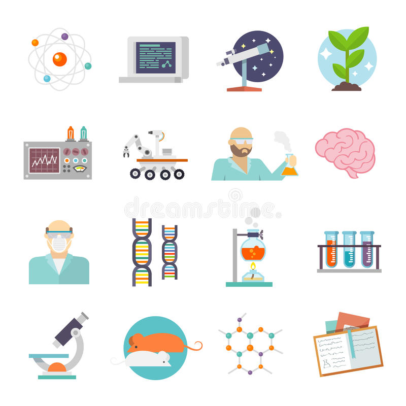 Science And Research Icon Flat Stock Vector Illustration Of Flat