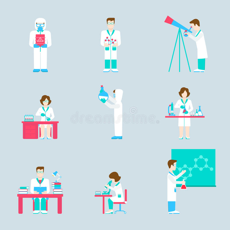 Laboratory Men Women Icons Research Process Acid Chemistry Physics Astronomy Medical Formula Concept