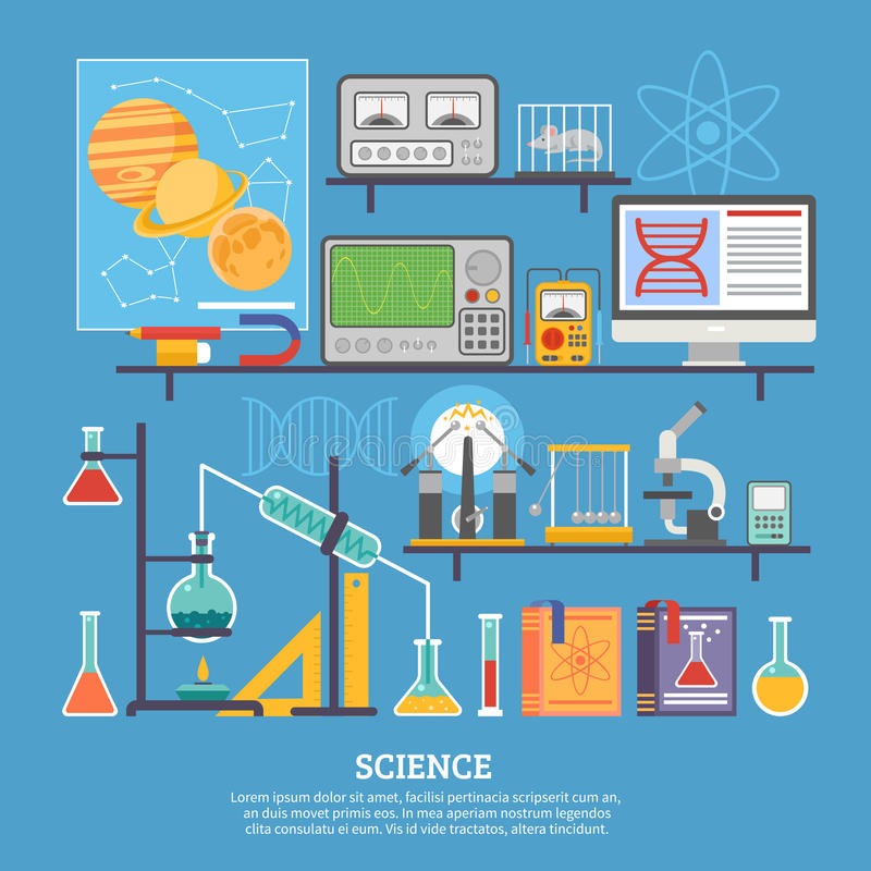 Science Research Laboratory Flat Banner vector illustration