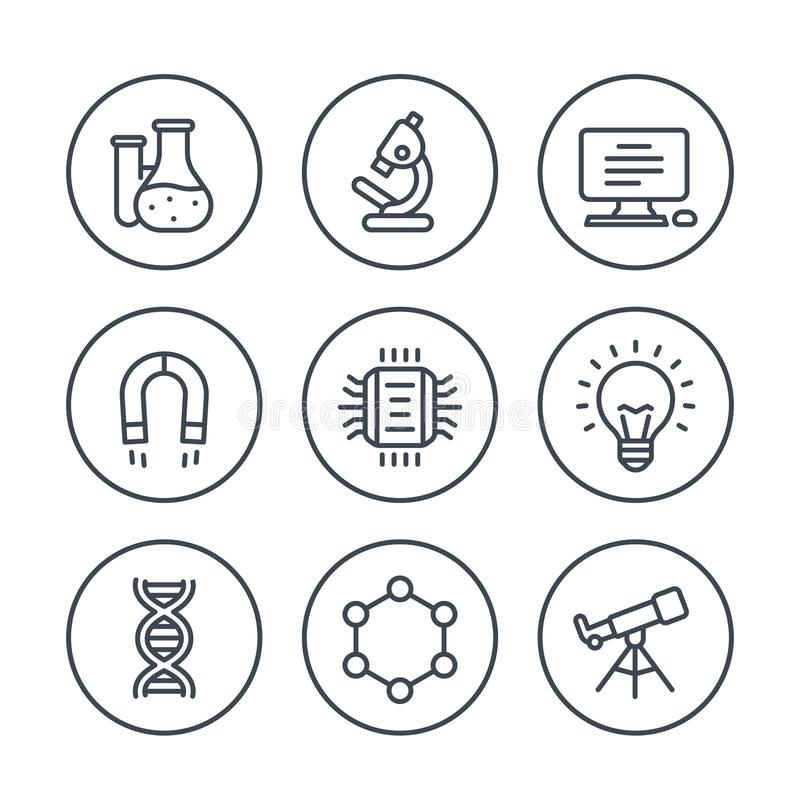 Science, research line icons on white royalty free illustration