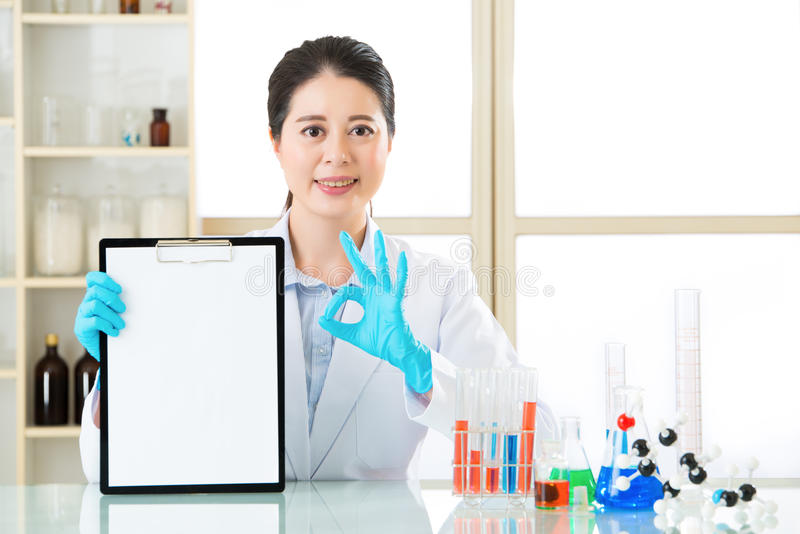 Science research result is ok for develop new technology stock photography