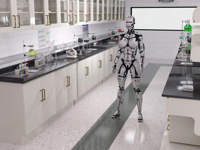 Robot Technology Lab, Laboratory, Science. Science robot technology lab or laboratory. The tech facility has a tech robot for the scientific industry royalty free illustration