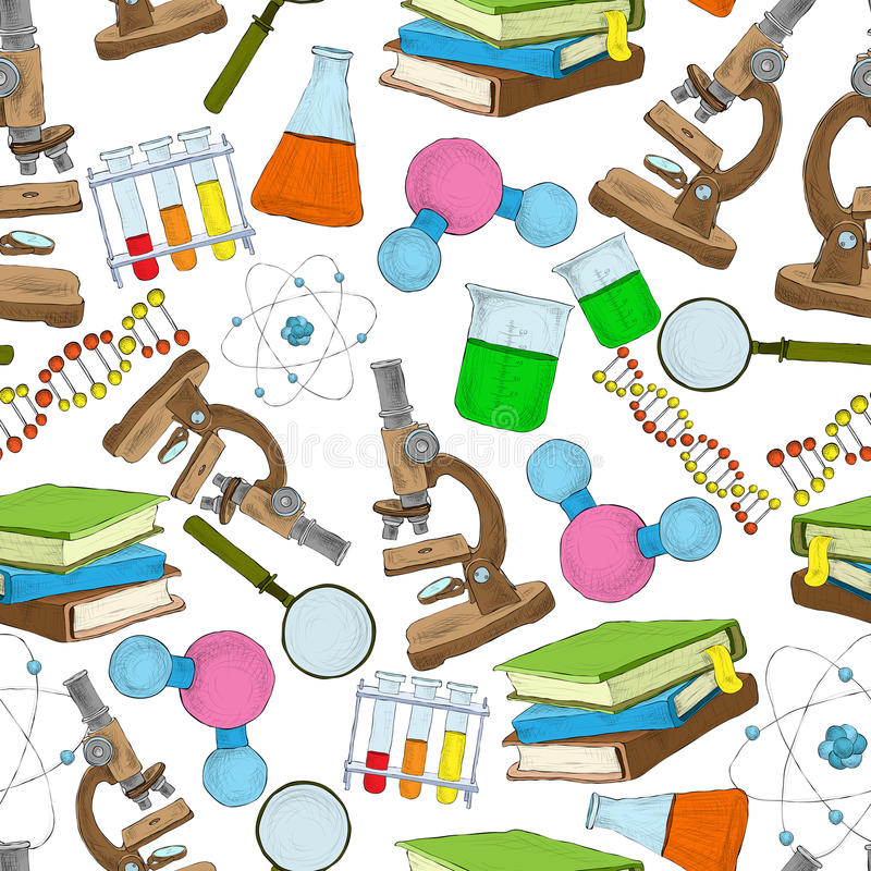 Education Background With Laboratory Vector Vector Art: Science Sketch Seamless Wallpaper Stock Vector