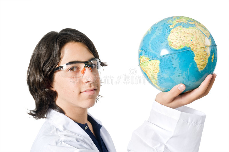 Download Science Student Holding A Globe Stock Photo - Image: 5807540