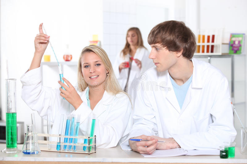 Science Students In Laboratory Royalty Free Stock Photos