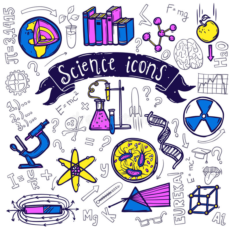 Science symbols icons doodle sketch stock illustration