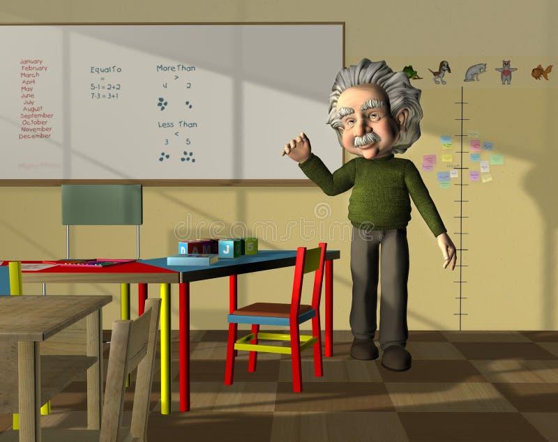 Science teacher in classroom stock illustration