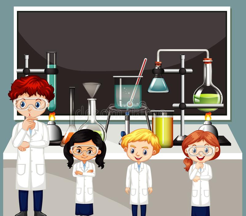 Science teacher and students in the lab. Illustration vector illustration