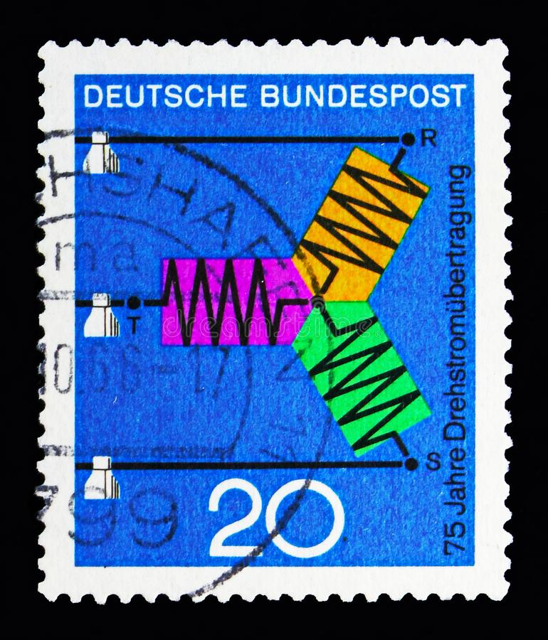 Science and technic, Scientific Anniversaries (2nd series) serie. MOSCOW, RUSSIA - MAY 13, 2018: A stamp printed in Federal Republic of Germany shows stock image