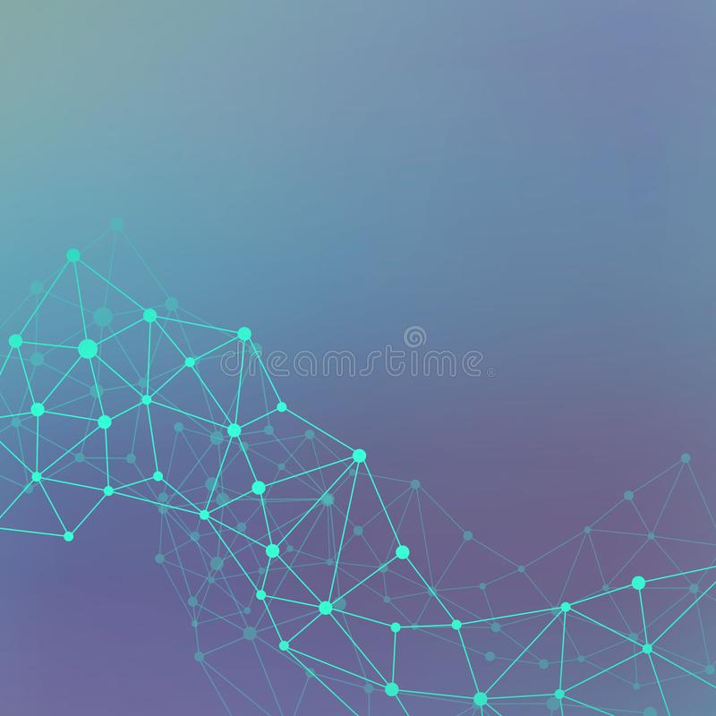 Science and technology background communication. Connected lines with dots. Modern illustration royalty free stock photo
