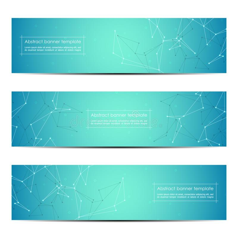 Science and technology banners. Molecule structure background. Scientific and technological concept. Vector illustration.  royalty free illustration