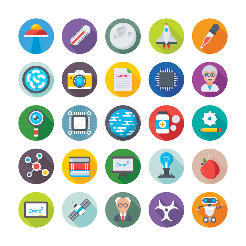 Science and Technology Colored Vector Icons 3. Decorate your science projects, articles, publications, presentations, books, blog or web with this Science and vector illustration