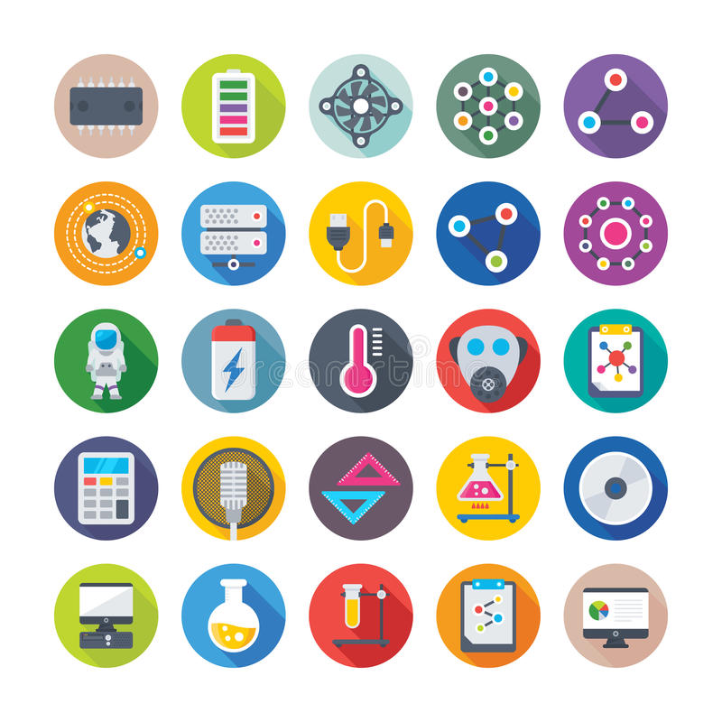 Science and Technology Colored Vector Icons 1. Decorate your science projects, articles, publications, presentations, books, blog or web with this Science and royalty free illustration