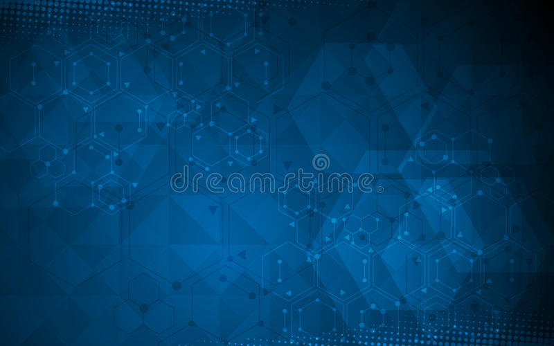 Science and technology concept polygon design background royalty free illustration