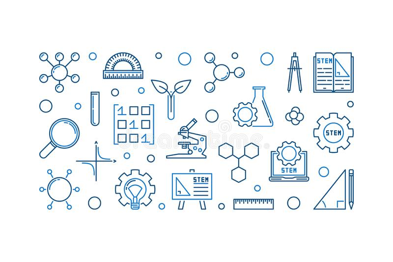 Science, Technology, Engineering and Math outline banner vector illustration
