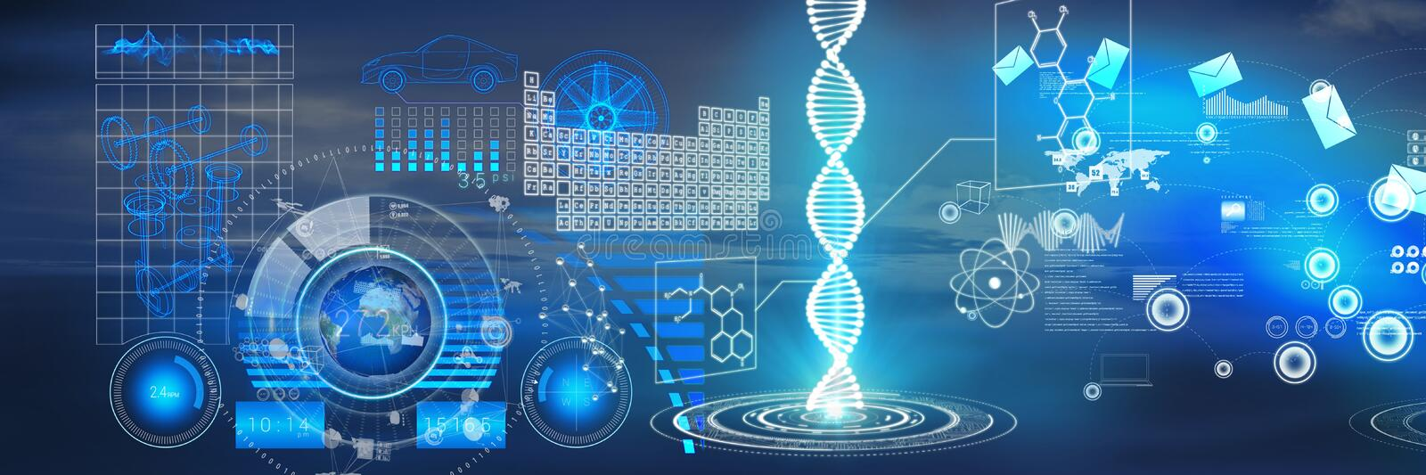 Science and technology interface in front of sky. Digital composite of Science and technology interface in front of sky vector illustration