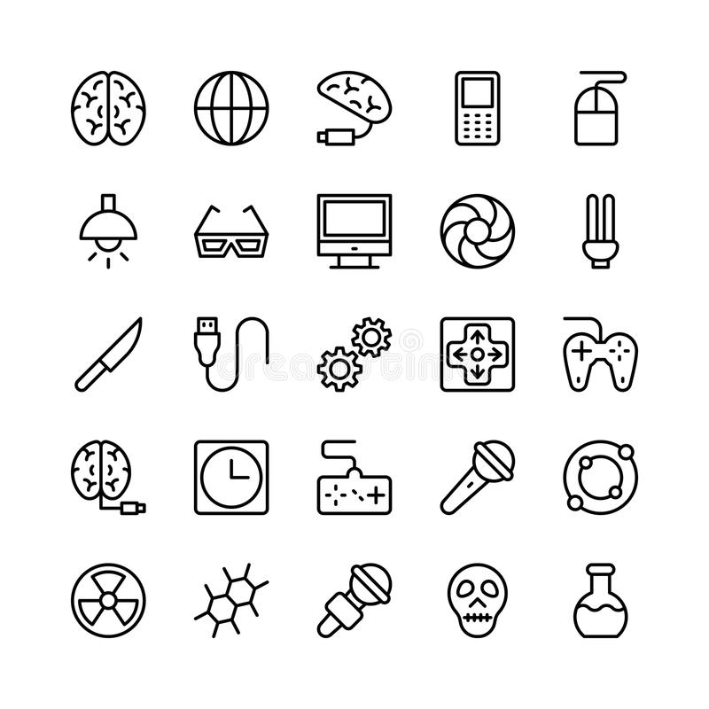 Science and Technology Line Vector Icons 3 stock illustration