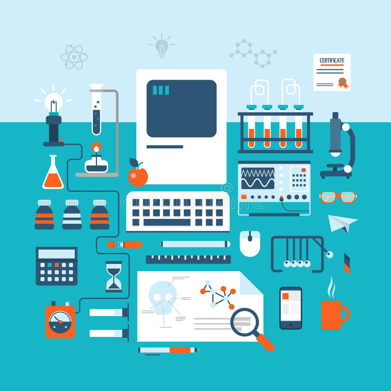 Science technology research laboratory workspace flat style lab vector illustration