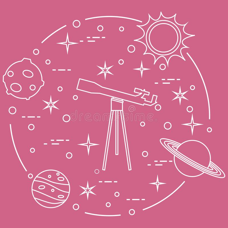 Science: telescope, sun, moon, planets, stars. Space exploration. Astronomy vector illustration