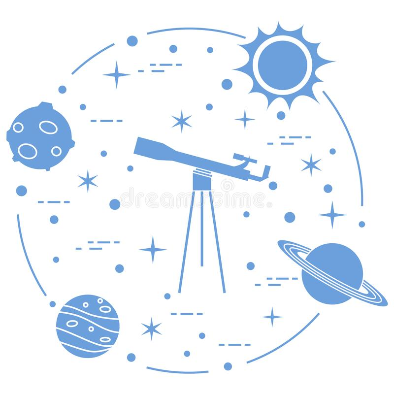 Science: telescope, sun, moon, planets, stars. Space exploration. Astronomy stock illustration