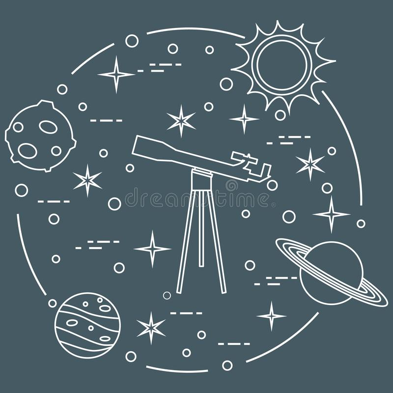 Science: telescope, sun, moon, planets, stars. Space exploration. Astronomy royalty free illustration